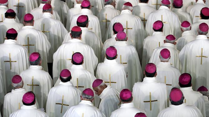 Members of the cleric participate in a mass celebrated by Pope Francis at Guadalupe's basilica in Mexico City,