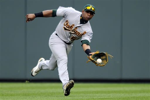 Oakland Athletics center fielder Yoenis Cespedes catches a line drive by Baltimore Orioles' Nick Markakis (21) during the third inning of a baseball game, Sunday, July 29, 2012, in Baltimore. The Orioles won 6-1. (AP Photo/Nick Wass)