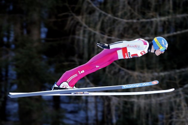 Edelmann of Germany soars through the air during the Nordic Combined men's Large Hill Team Sprint jumping competition at the FIS Nordic Skiing World championships in Predazzo