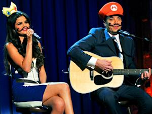 Selena Gomez Sports a Mustache on Late Night With Jimmy Fallon for Mario Kart Duet