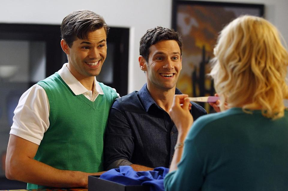 "This image released by NBC shows Andrew Rannells as Bryan, left, and Justin Bartha as David in a scene from the short-lived NBC series ""The New Normal."" Before doing the series, Rannells appeared on Broadway in the musical hit, ""The Book of Mormon."" (AP Photo/NBC, Trae Patton)"