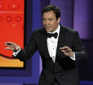 "FILE - In this Aug. 29, 2010 file photo, host Jimmy Fallon presents during the 62nd Primetime Emmy Awards in Los Angeles. Fallon told Matt Lauer on Wed., Aug. 8, 2012 during a ""Today"" show broadcast, that he was asked to host next year's 85th Academy Awards but declined the gig. (AP Photo/Chris Carlson, File)"