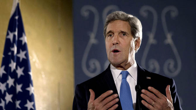 U.S. Secretary of State John Kerry speaks during press conference in Cairo, Sunday, Nov. 3, 2013. Kerry is in Cairo pressing for reforms during the highest-level American visit to Egypt since the ouster of the country's first democratically elected president. The Egyptian military's removal of Mohammed Morsi in July led the U.S. to suspend hundreds of millions of dollars in aid. This is the first stop in an 11-day trip that will take Kerry to the Mideast and Europe. (AP Photo/Jason Reed, Pool)