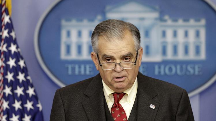 This photo taken Feb. 22, 2013 shows Transportation Secretary Ray LaHood briefing reporters regarding the sequester, at the White House in Washington.  President Barack Obama and congressional Republicans each seem content with the political ground they hold and are prepared to let across-the-board spending cuts take effect on March 1, unlike during earlier rounds of budget brinkmanship that saw last minute frantic dealmaking. This time, there is no market-rattling threat of a US. default to force the two sides to compromise, no government shutdown on the short-term horizon and no year-end deadline to prevent a tax increase for every working American. (AP Photo/Charles Dharapak)