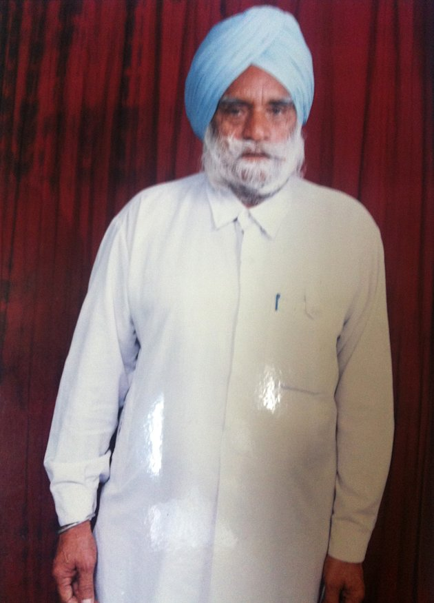 This undated photo provided by Mandeep Singh shows Suveg Singh Khattra. Balginder Khattra of Oak Creek, Wis. said Monday, Aug. 6, 2012, that his 84-year-old father, Suveg Singh Khattra, was among the dead in Sunday's shooting at a Sikh temple in Oak Creek, Wis.