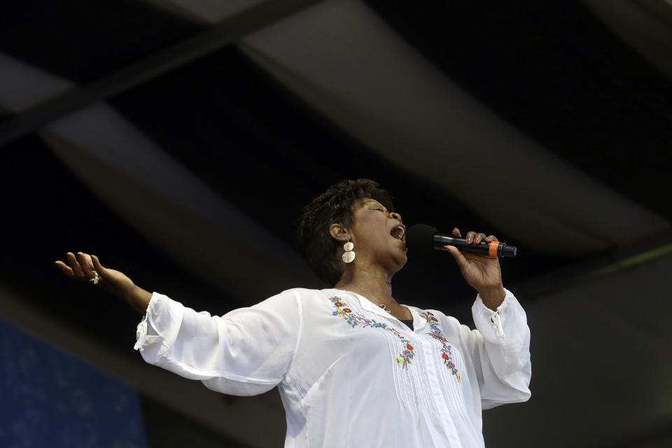 Irma Thomas performs at the New Orleans Jazz and Heritage Festival in New Orleans, Sunday, May 5, 2013. (AP Photo/Gerald Herbert)
