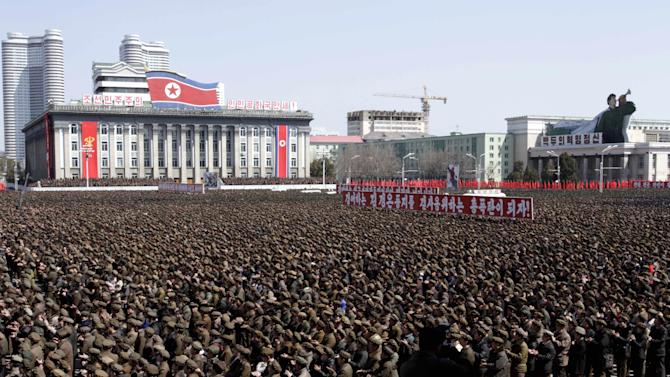 North Koreans gather at a rally at Kim Il Sung Square in downtown Pyongyang, North Korea, Friday, March 29, 2013. Tens of thousands of North Koreans turned out for the mass rally at the main square in Pyongyang in support of their leader Kim Jong Un's call to arms. (AP Photo/Jon Chol Jin)