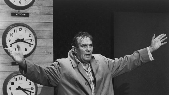 "This 1977 file image provided by United Artists shows Peter Finch as anchorman Howard Beale in a scene from ""Network."" The Goldman Sachs muppet manifesto — departing executive Greg Smith's lengthy and very public screed against the company's blind pursuit of profits — is only the latest example of taking bridge-burning to an art form. As Beale screamed, ""I'm as mad as hell, and I'm not going to take this anymore,"" maybe Smith thought it was time to tell the world that Goldman Sachs managing directors referred to their clients as ""muppets."" (AP Photo/"