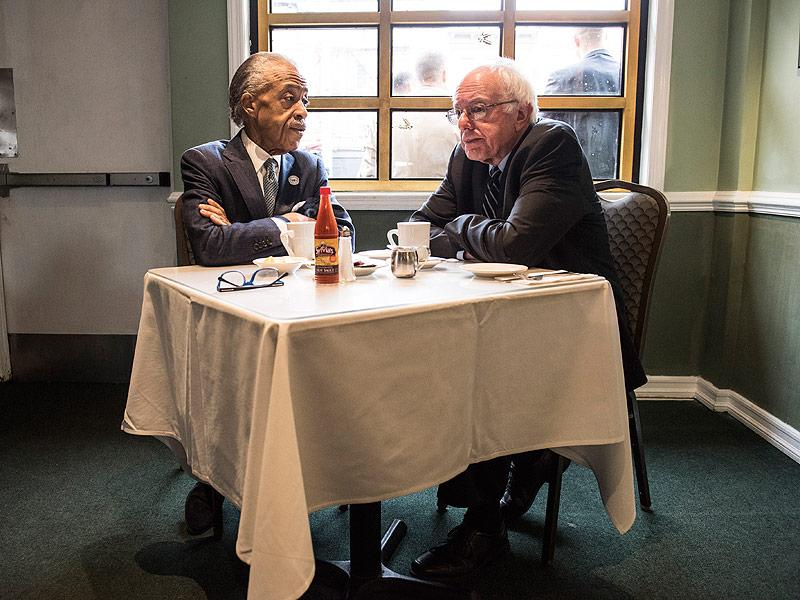 Breakfast with Bernie: Sanders Meets with Rev. Al Sharpton in Harlem