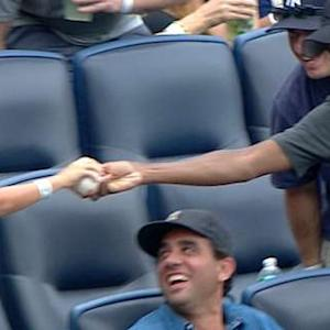 Rock grabs foul ball