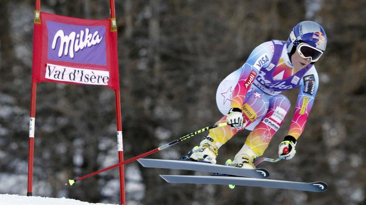 Vonn of the U.S. skis during the Women's World Cup Downhill skiing race in Val d'Isere