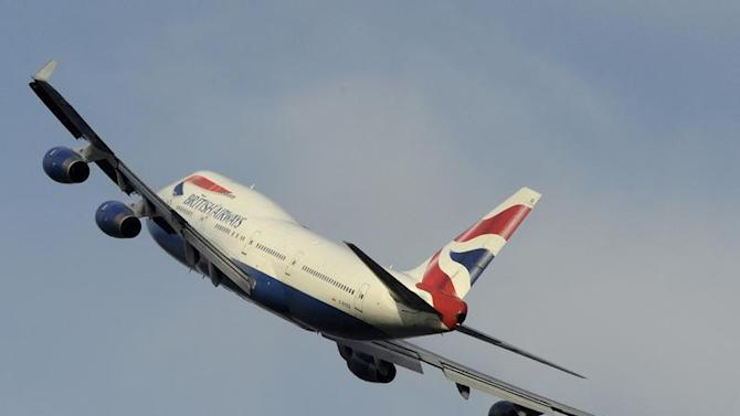A British Airways Boeing 747 takes off from Heathrow Airport in west London