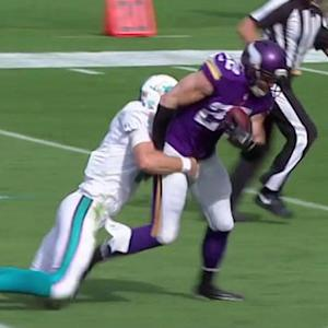 Miami Dolphins quarterback Ryan Tannehill intercepted by Minnesota Vikings safety Harrison Smith