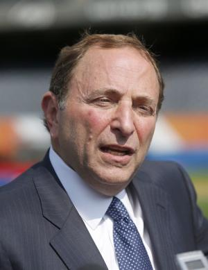 NHL commissioner Gary Bettman talks with reporters after a news conference Thursday, Sept. 19, 2013, in Chicago. Bettman said there's no plan for the league to expand, but he didn't exactly pour water on the idea either. THE CANADIAN PRESS/AP/Charles Rex Arbogast