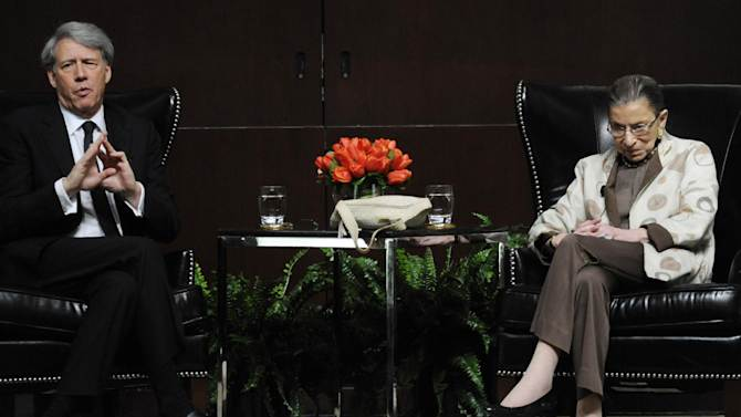U.S. Supreme Court Justice Ruth Bader Ginsburg, right, discusses the Roe vs. Wade case on it's 40th anniversary with University of Chicago Law School Professor Geoffrey Stone, left, at The University of Chicago Law School in Chicago, Saturday, May 11, 2013. (AP Photo/Paul Beaty)