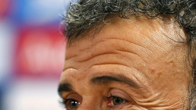 Barcelona's coach Luis Enrique smiles during news conference after training session, ahead of Saturday's La Liga clasico against Real Madrid, at Ciutat Esportiva Joan Gamper in Sant Joan Despi