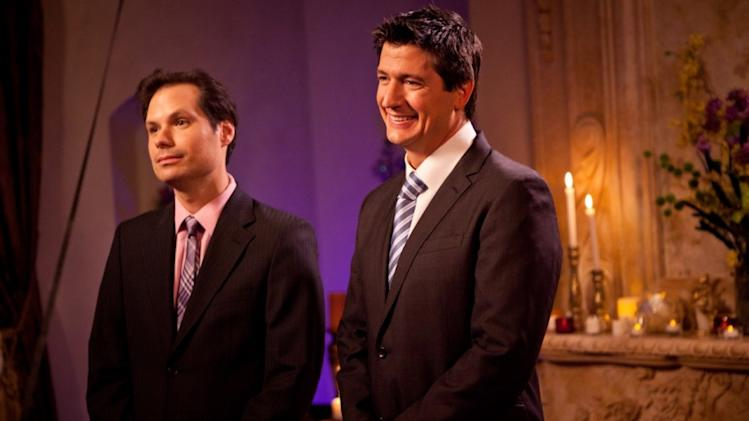 "This undated image released by Paramount Pictures shows actors, Michael Ian Black as host, and Ken Marino in a scene from the Yahoo Web series ""Burning Love,"" a spoof of the popular romance reality series, ""The Bachelor."" (AP Photo/Paramount Pictures)"