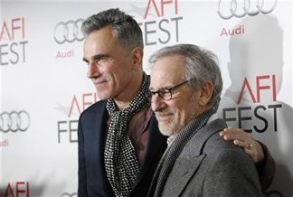 Day-Lewis, left, and Spielberg in early November