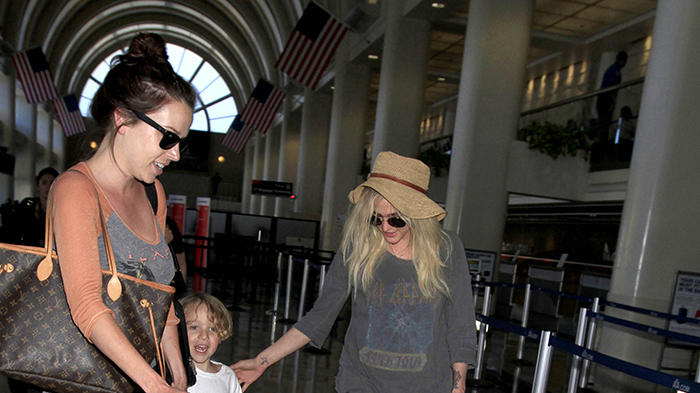 Ashlee Simpson seen with her son, Bronx and their two dogs (one is a service animal), Hemmingway and Rigby