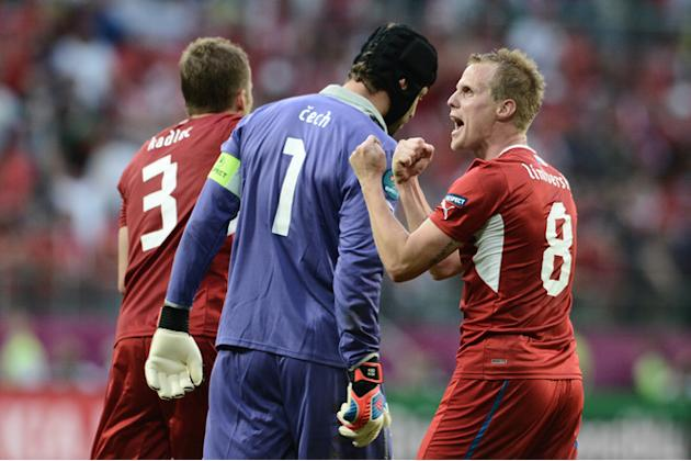 Czech Defender Michal Kadlec, Czech Goalkeeper Petr Cech And Czech Defender David Limbersky (R) Celebrate AFP/Getty Images