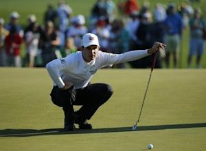 U.S. golfer Kevin Streelman looks at his putt on the seventh green during the second round of the Masters golf tournament at the Augusta National Golf Club in Augusta