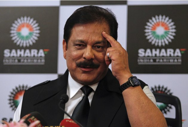 Sahara Group Chairman Subrata Roy gestures as he speaks during a news conference in Mumbai