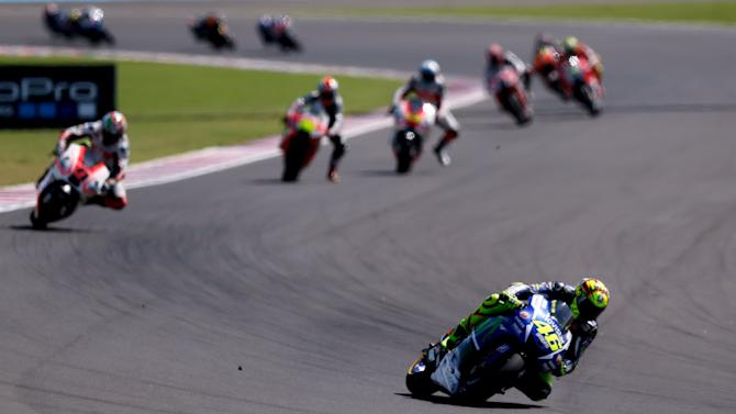 Rossi of Italy leads the pack during a free practice session at Argentina's MotoGP Grand Prix in Termas de Rio Hondo