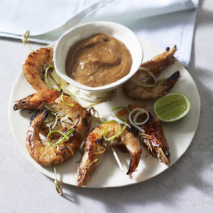 Barbecued prawn satay
