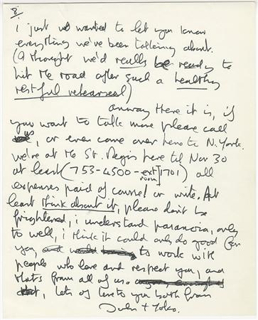 A letter drafted in 1971 by John Lennon is shown in this undated publicity photograph