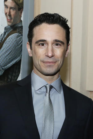 "In this March 29, 2012 photo provided by Disney On Broadway, choreographer Christopher Gattelli attends the opening night of the musical ""Newsies"" in New York. Gattelli, who just earned his second Tony Award nomination for the high-energy show, doesn't actually need to be there and his work is technically long done. But the former dancer in Gattelli wants to make sure the young dancers are being safe. (AP Photo/Disney On Broadway)"