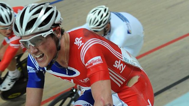 Great Britain's Peter Kennaugh reacts after a fall in the men's Madison race