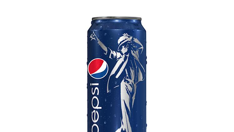 "This image provided by PepsiCo Inc. shows Pepsi's ""King of Pop"" can featuring a likeness of Michael Jackson. PepsiCo Inc. on Thursday, May 3, 2012, is announcing its deal with the estate of Michael Jackson to use the late pop star's image for its new global marketing push. The nature of the promotion will vary by country, but will include a TV ad, special edition cans bearing Jackson's image and chances to download remixes of some of Jackson's most famous songs. (AP Photo/PepsiCo Inc.)"