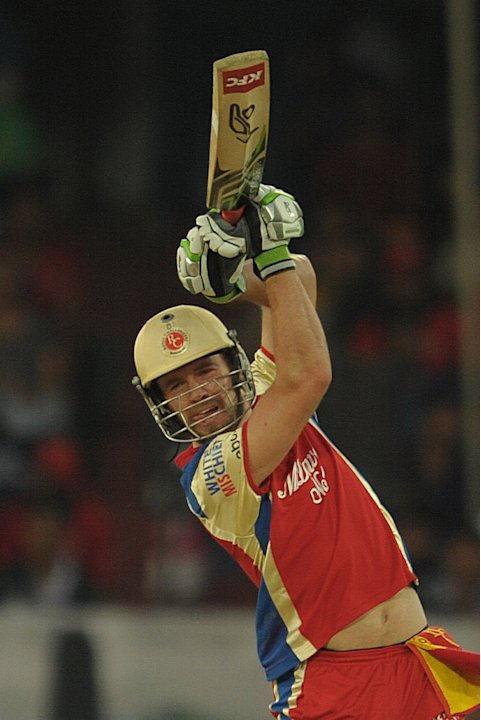 Royal Challengers Bangalore batsman AB De Villers plays a shot during the IPL Twenty20 cricket match between Deccan Chargers and Royal Challengers Bangalore at Rajiv Gandhi International Stadium in Hy