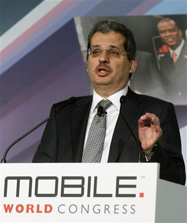 Qtel Group CEO Nasser Marafih gestures during a news conference at the Mobile World Congress in Barcelona