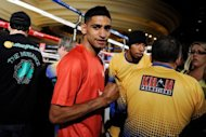 Boxer Amir Khan arrives for a public workout session at the Mandalay Bay Resort & Casino in Las Vegas, Nevada. Khan will take on Danny Garcia for the WBC super lightweight world championship on July 14 in Las Vegas