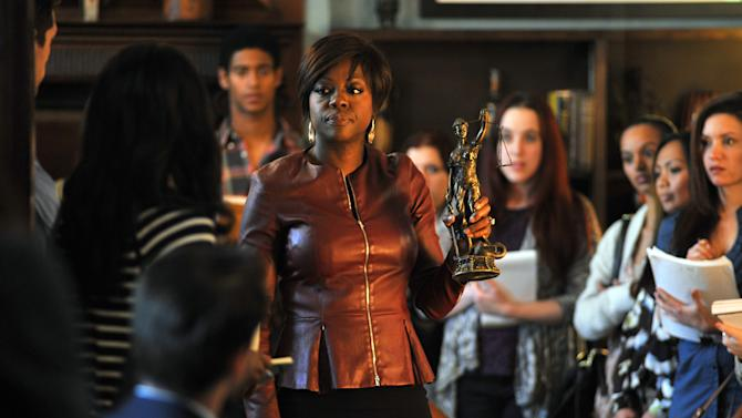 "This image released by ABC shows Viola Davis, center, from the series, ""How To Get Away With Murder,"" premiering Sept. 30. ""How to Get Away with Murder,"" is one of three series by Shonda Rhimes that will air on Thursdays.  (AP Photo/ABC, Nicole Rivelli)"