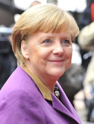 German Chancellor Angela Merkel arrives at EU headquarters in Brussels, on February 8, 2013. German Chancellor Angela Merkel said the deal &quot;was worth the effort&quot; and she &quot;was glad that everyone showed the needed willingness to compromise.&quot;