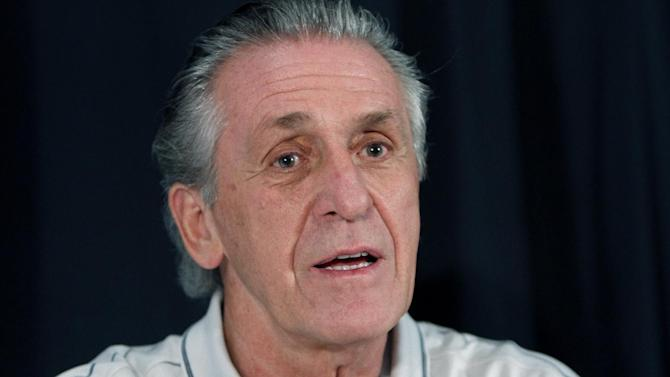 "FILE - In this Sept. 23, 2010 file photo, Pat Riley, the President of the Miami Heat basketball team, speaks with the media in Miami. Miami Heat President Pat Riley is speaking out at length for the first time since LeBron James left the franchise, saying that he wants the team ""to be as good as it's ever been"" going forward, Wednesday, July 30, 2014. (AP Photo/J Pat Carter, File)"