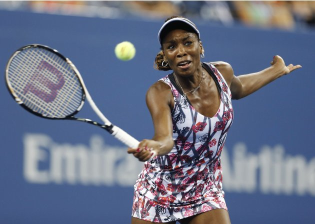 Williams of the U.S. hits a return to Kerber of Germany during their match at the U.S. Open women's singles tennis tournament in New York