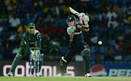 Pakistan wicket keeper Kamran Akmal watches as New Zealand batsman Brendon McCullum (right) plays a shot during the ICC Twenty20 Cricket World Cup match between Pakistan and New Zealand in Pallekele. Off-spinner Saeed Ajmal took four wickets as Pakistan kept their nerve to pull off an exciting 13-run win over New Zealand in the World Twenty20 group D match