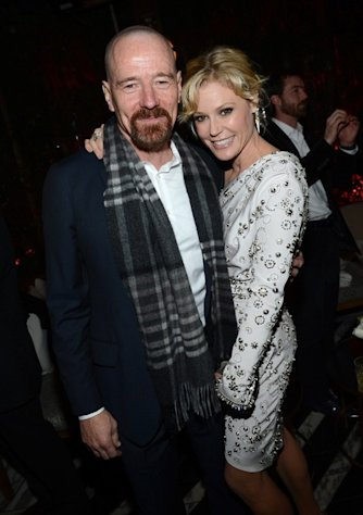 Bryan Cranston and Julie Bowen share a moment at the Fourth Annual Audi Pre-Golden Globes Party on January 6, 2013, in West Hollywood.