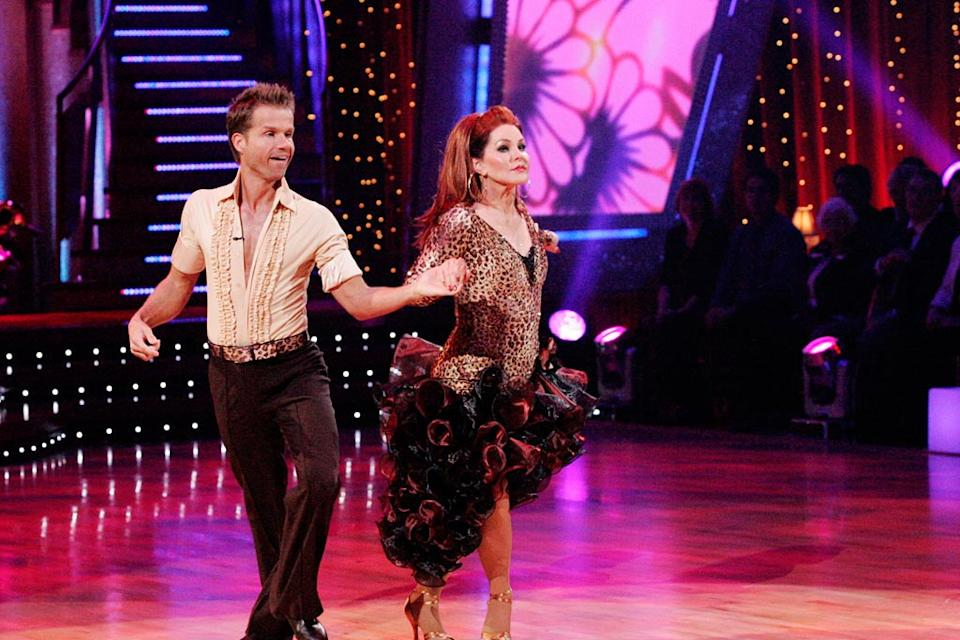 Louis Van Amstel and Prescilla Presley perform a dance on the sixth season of Dancing with the Stars.