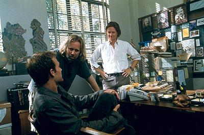 James Van Der Beek , director Roger Avary and Eric Stoltz on the set of Lions Gate's The Rules of Attraction