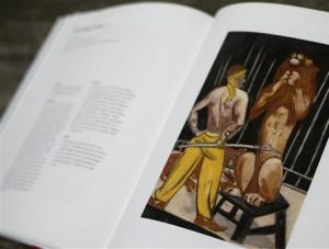 File photo of a print of the painting 'Lion-Tamer' by German artist Max Beckmann is displayed in a book at Lempertz auction house in Cologne
