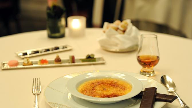 IMAGE DISTRIBUTED FOR THE DALMORE - The Dalmore 12 year scented Creme Brulee desert is photographed at DANIEL, Tuesday, April 23, 2013, in New York, to celebrate the launch of The Dalmore Selected by Daniel Boulud. His bespoke whisky is now available at: DANIEL, CafÈ Boulud, Boulud Sud, db Bistro Moderne, Bar Boulud and DBGB Kitchen & Bar. (Photo by Diane Bondareff/Invision for The Dalmore/AP Images)