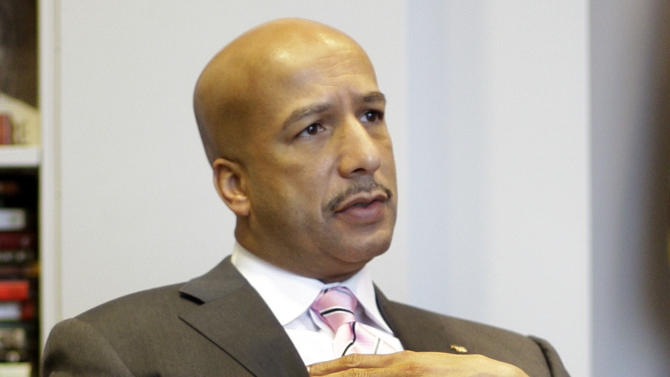 FILE - In this Tuesday, Dec. 23, 2008 file photo, New Orleans Mayor Ray Nagin speaks during an interview in his office at City Hall in New Orleans. (AP Photo/Alex Brandon)