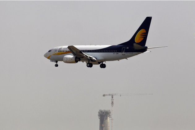 Jet Airways passenger plane prepares to land at the Indira Gandhi International Airport in New Delhi
