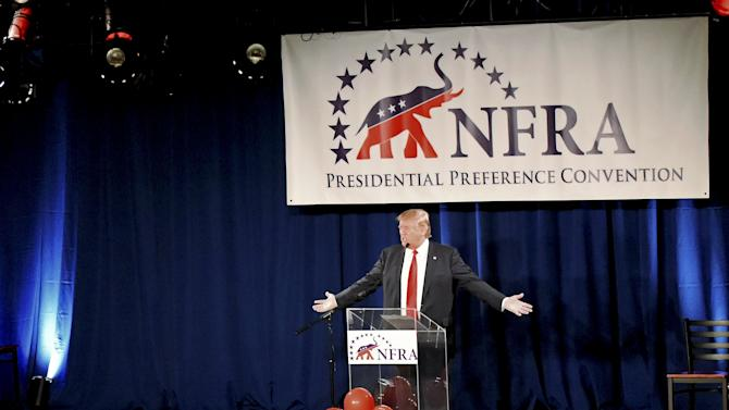 Republican presidential candidate Donald Trump speaks during the National Federation of Republican Assemblies at Rocketown in Nashville, Tennessee