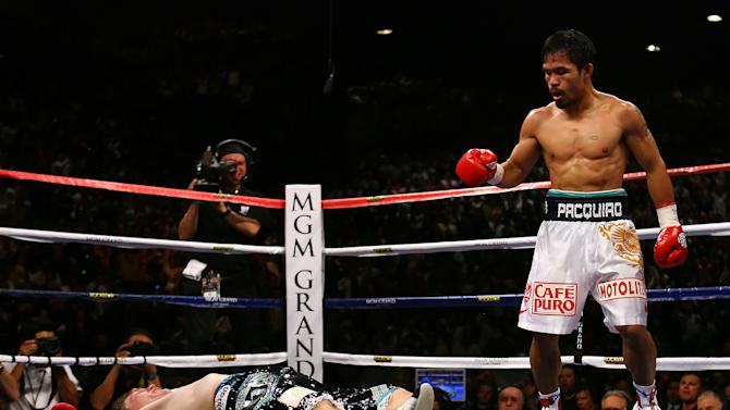 15. Manny Pacquiao KO2 Ricky Hatton, May 2, 2009 – Hatton was expected to provide a stiff test for Pacquiao, but he was completely outclassed. He entered the fight with a 45-1 record, but was battered in the first round and then knocked stone cold by a Pacquiao left in the second. (Photo credit: Getty)
