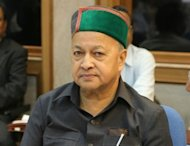 The Himachal Pradesh chief minster Virbhadra Singh pictured at a meeting of chief ministers in New Delhi in September 2006. Singh, the minister for micro, small and medium industries, resigned Tuesday after a state court charged him with corruption, in a further embarrassment for Prime Minister Manmohan Singh&#39;s scandal-tainted government